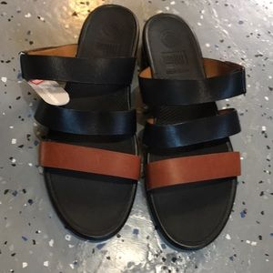 FITFLOP $130 Leather Slides Sandals Shoes Size 11